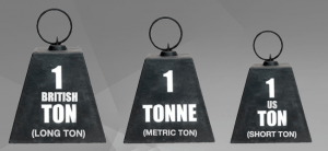 What is the difference between the three different types of Ton - short ton, long ton, and metric ton?
