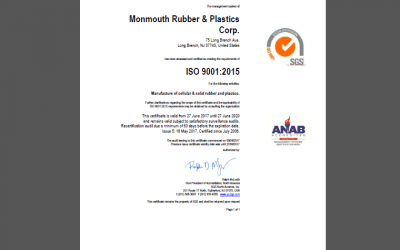 ISO 9001:2015 for Monmouth Rubber & Plastics Corp.