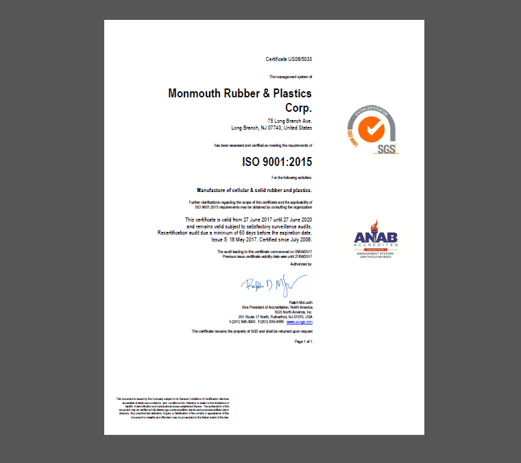 Monmouth Rubber & Plastics earns ISO 9001:2015 Re-Certification